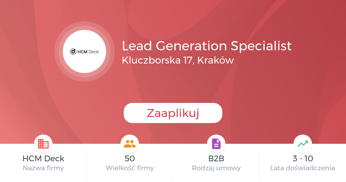 Lead Generation Specialist At Hcm Deck